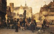 Alfred Eduard Chalon Am Marktbrunnen von Bingen oil on canvas