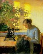 Anna Ancher Sewing fisherman's wife oil painting reproduction