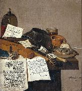 Anthonie Leemans Still life with a copy of De Waere Mercurius, a broadsheet with the news of Tromp's victory over three English ships on 28 June 1639, and a poem telli oil on canvas
