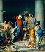 Carl Heinrich Bloch Jesus casting out the money changers at the temple oil on canvas