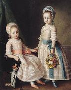 Carl Ludwig Christinec Portrait of Two Sisters oil on canvas