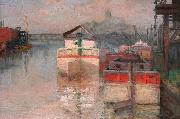 Carl Wagner Coal Barges on the Lower Schuylkill oil on canvas
