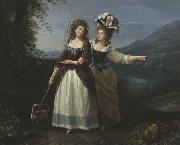 Carlo Labruzzi Aleksandra and Izabela Potocki taking a stroll near to lake Albano. oil on canvas