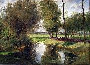 Cesar De Cock Landscape by the River Lys oil on canvas