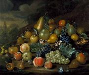 Charles Collins A Still Life of Pears, Peaches and Grapes oil on canvas