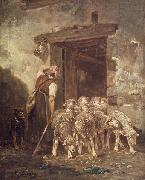 Charles Jacque Leaving the Sheep Pen oil on canvas