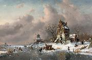 Charles Leickert Winter scene oil on canvas