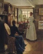 Charles W. Bartlett Reading Aloud, oil painting by Charles W. Bartlett, oil on canvas