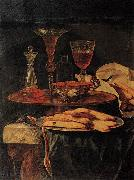 Christian Berentz Still-Life with Crystal Glasses and Sponge-Cakes oil on canvas