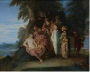 Claude Gillot A scene inspired by the Commedia Dell'arte oil on canvas