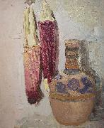 Cordelia Wilson Indian Corn and Mexican Vase oil on canvas