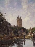 Eugene Boudin Dordrecht the Grote Kerk from the Canal oil painting reproduction