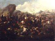 Francesco Maria Raineri Battle among Christians and Turks. Oil-painting, oil