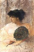 Franciszek zmurko Woman with a fan painting