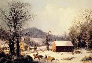 George Henry Durrie Red School House, Winter oil painting reproduction