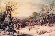 George Henry Durrie Hunter in Winter Wood painting
