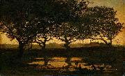 Gerard Bilders Woodland pond at sunset. oil painting reproduction