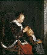 Gerard ter Borch the Younger Mother Combing the Hair of Her Child. oil painting
