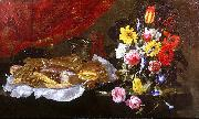 Giuseppe Recco A Still Life of Roses, Carnations, Tulips and other Flowers in a glass Vase, with Pastries and Sweetmeats on a pewter Platter and earthenware Pots, on oil