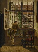 Henrik Nordenberg Interior with a boy at a window oil on canvas