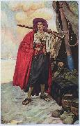 Howard Pyle The Buccaneer was a Picturesque Fellow: illustration of a pirate, dressed to the nines in piracy attire. oil painting reproduction