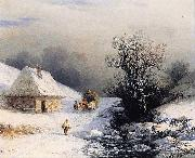 Ivan Aivazovsky Little Russian Ox Cart in Winter oil on canvas