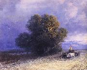 Ivan Aivazovsky Ox Cart Crossing a Flooded Plain painting