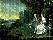 James Holland Portrait of Sir Francis and Lady Dashwood at West Wycombe Park oil on canvas