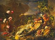 Jan Davidsz. de Heem Fruit and a Vase of Flowers oil painting reproduction