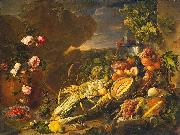 Jan Davidz de Heem Fruit and a Vase of Flowers oil painting reproduction