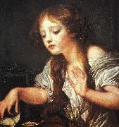 Jean Baptiste Greuze Young Girl Weeping for her Dead Bird oil painting reproduction