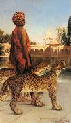 Jean-Joseph Benjamin-Constant Palace Guard with Two Leopards oil painting reproduction