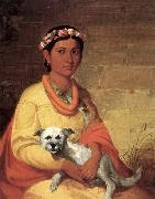 John Mix Stanley Hawaiian Girl with Dog painting