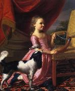 John Singleton Copley Young lady with a Bird and dog oil painting reproduction