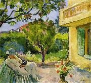 Lebasque, Henri Madame Lebasque Reading in the Garden oil on canvas