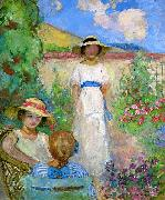 Lebasque, Henri Three Girls in a Garden oil on canvas