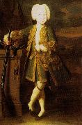 Louis Caravaque Portrait of a boy. Was att. as Peter III or Peter II's portrait, possibly Elizabeth in men's dress oil on canvas