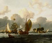Ludolf Bakhuizen A Dutch Yacht Before the Wind in a Harbour oil painting reproduction