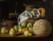 Luis Eugenio Melendez Still Life with Melon and Pears oil on canvas