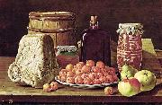 Luis Eugenio Melendez Still Life with Fruit and Cheese oil on canvas