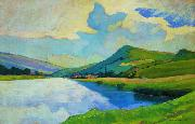 Nico Klopp Moselle near Schengen at the Drailannereck oil painting reproduction