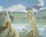 Paul Emile Chabas Two Bathers oil on canvas