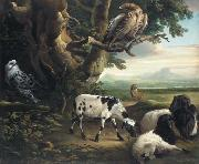 Philip Reinagle Birds of Prey, Goats and a Wolf, in a Landscape oil