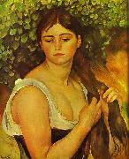 Pierre Auguste Renoir Girl Braiding Her Hair oil painting