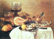 Pieter Claesz A ham, a herring, oysters, a lemon, bread, onions, grapes and a roemer oil painting reproduction