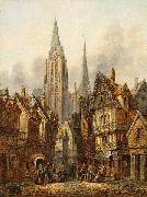 Pieter Cornelis Dommersen A gothic cathedral in a medieval city oil on canvas