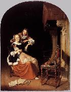 Pieter Cornelisz. van Slingelandt Lady with a Pet Dog oil on canvas