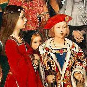 Richard Burchett Erasmus of Rotterdam visiting the children of Henry VII at Eltham Palace in 1499 and presenting Prince Henry with a written tribute. oil