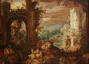 Roelant Savery Herds in the ruins painting