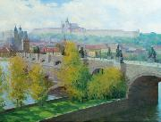 Stanislav Feikl View of Prague Castle over the Charles Bridge by Czech painter Stanislav Feikl oil